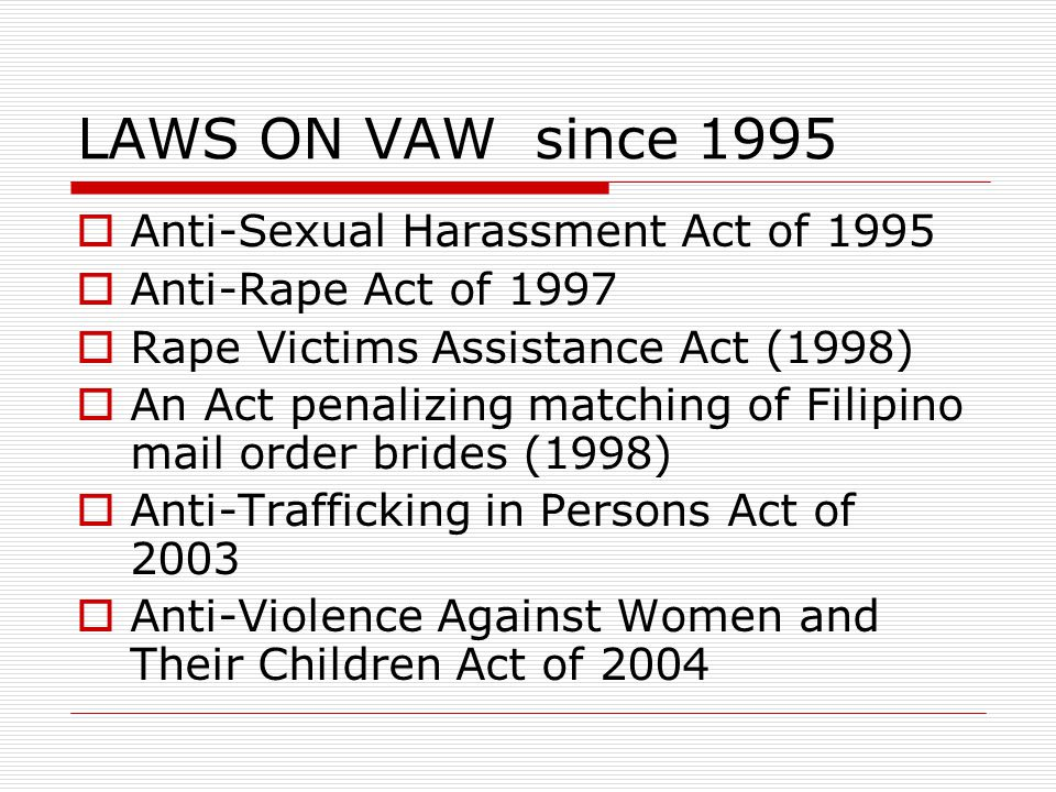 LAWS ON VAW since 1995 Anti-Sexual Harassment Act of 1995