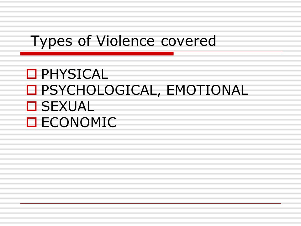 Types of Violence covered