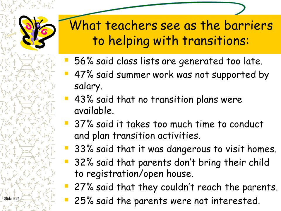 What teachers see as the barriers to helping with transitions: