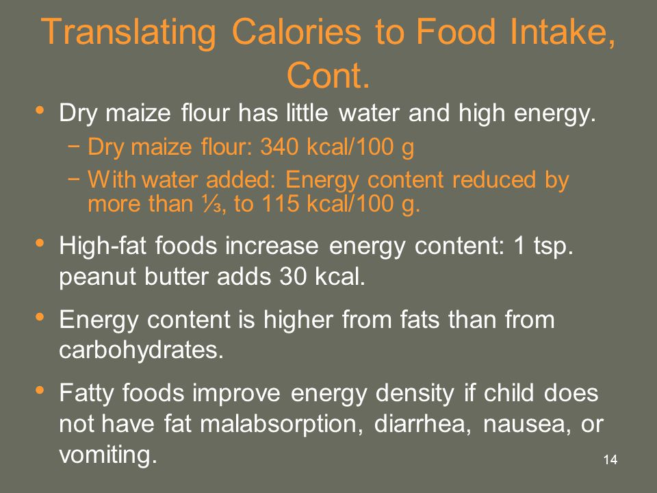 Translating Calories to Food Intake, Cont.