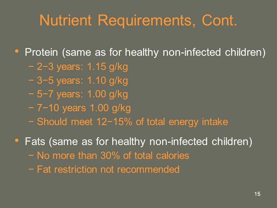 Nutrient Requirements, Cont.