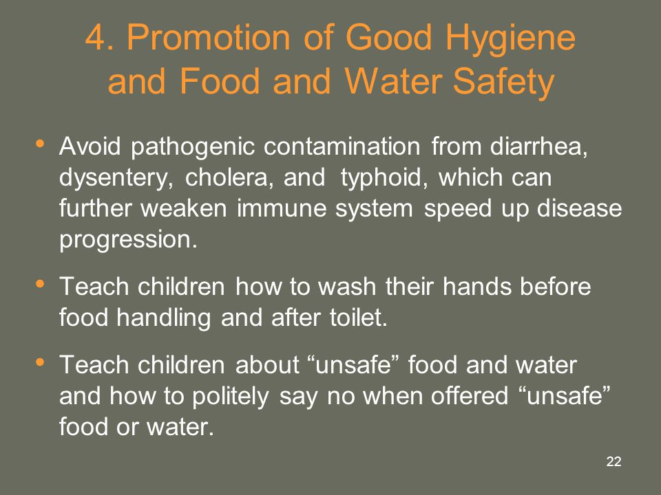 4. Promotion of Good Hygiene and Food and Water Safety