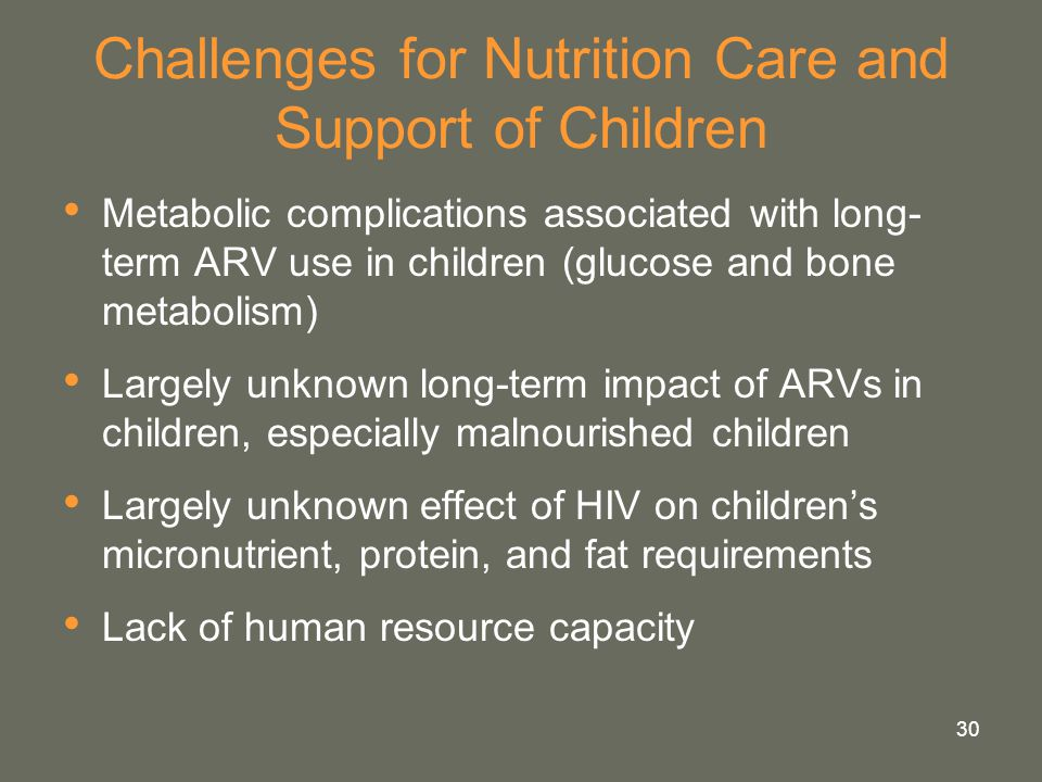 Challenges for Nutrition Care and Support of Children