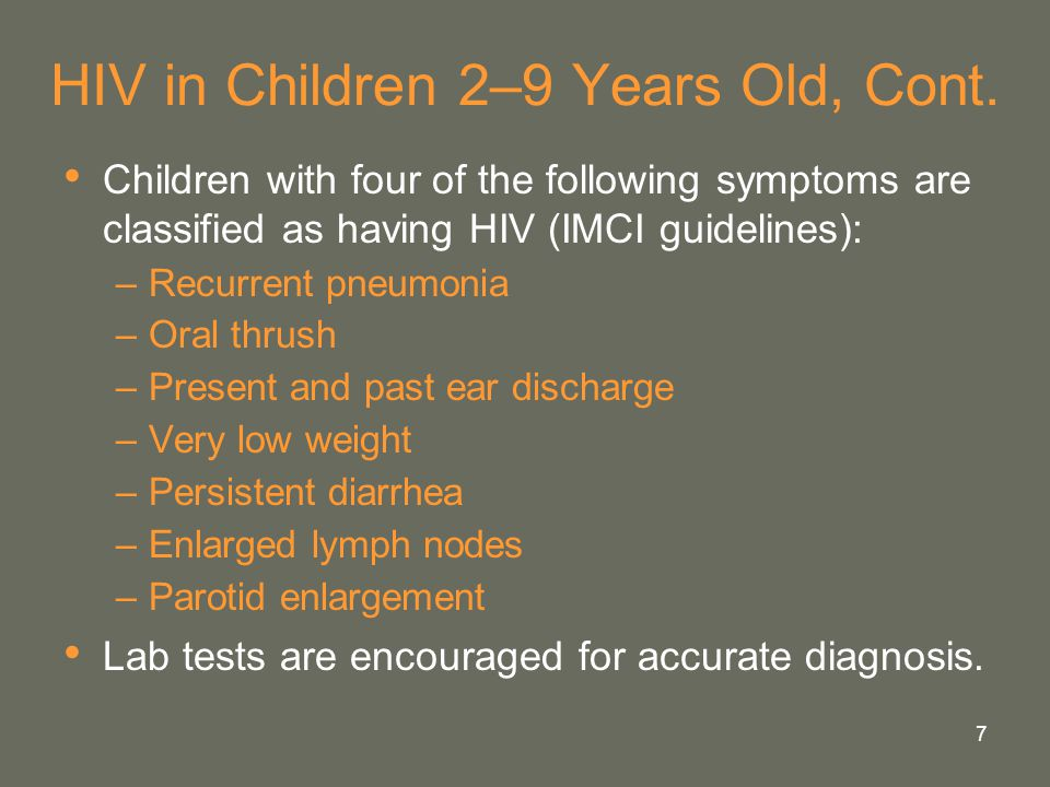 HIV in Children 2–9 Years Old, Cont.