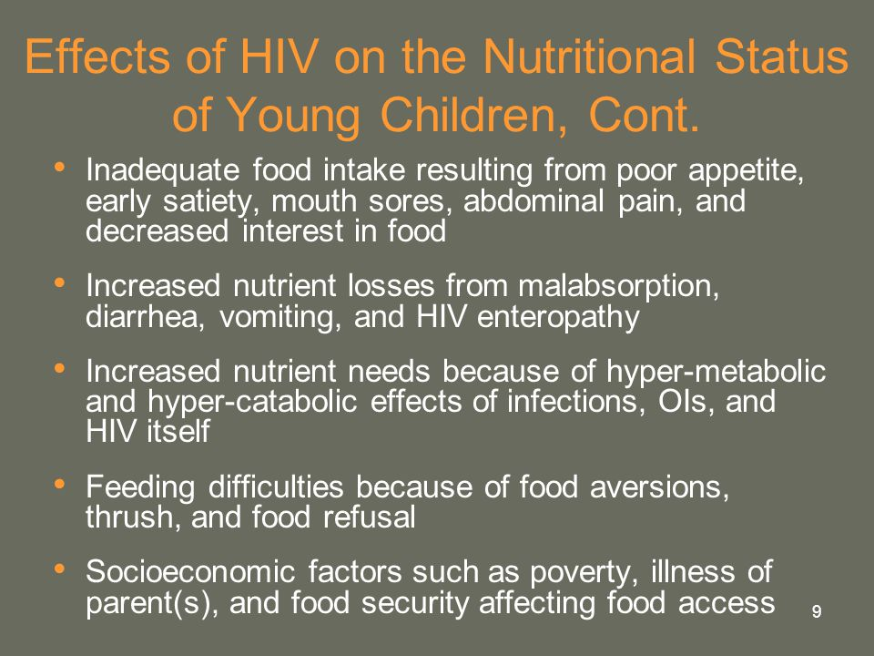 Effects of HIV on the Nutritional Status of Young Children, Cont.