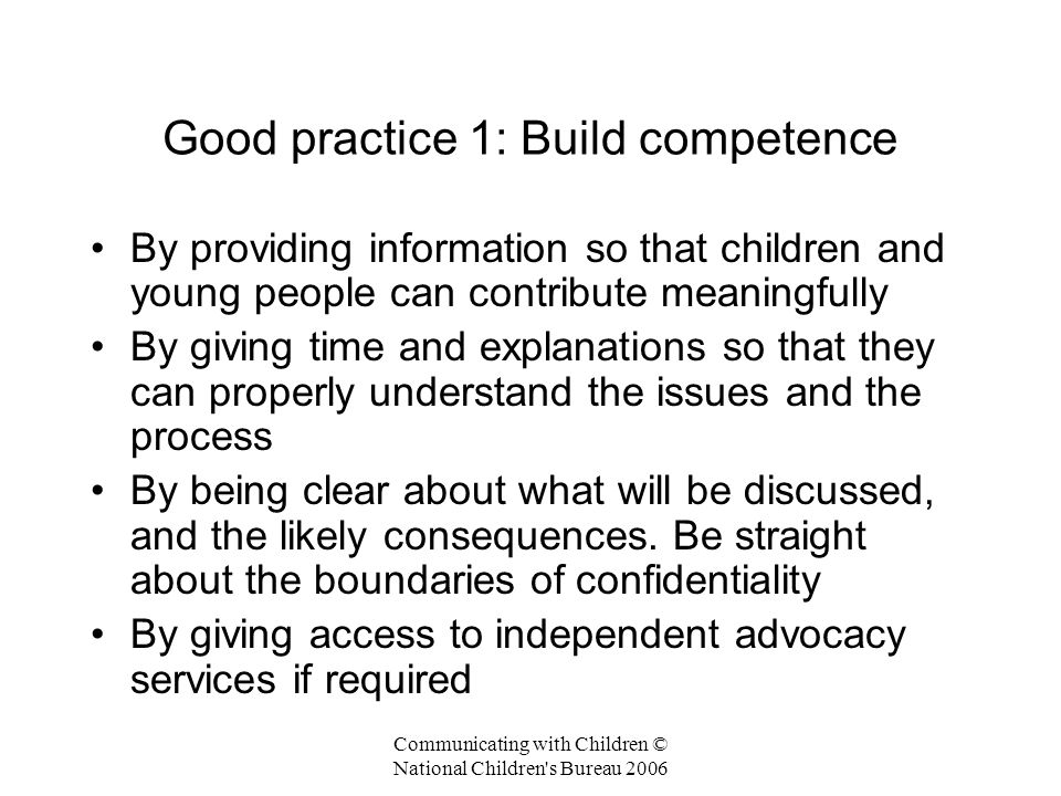 Good practice 1: Build competence