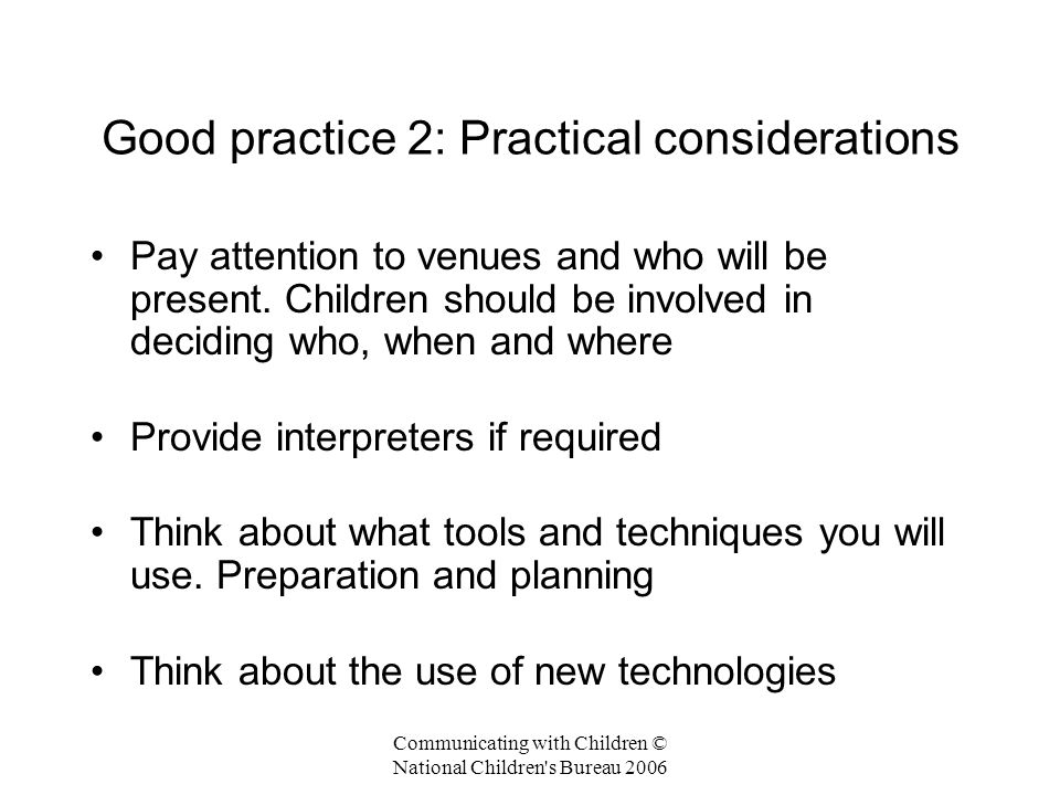 Good practice 2: Practical considerations