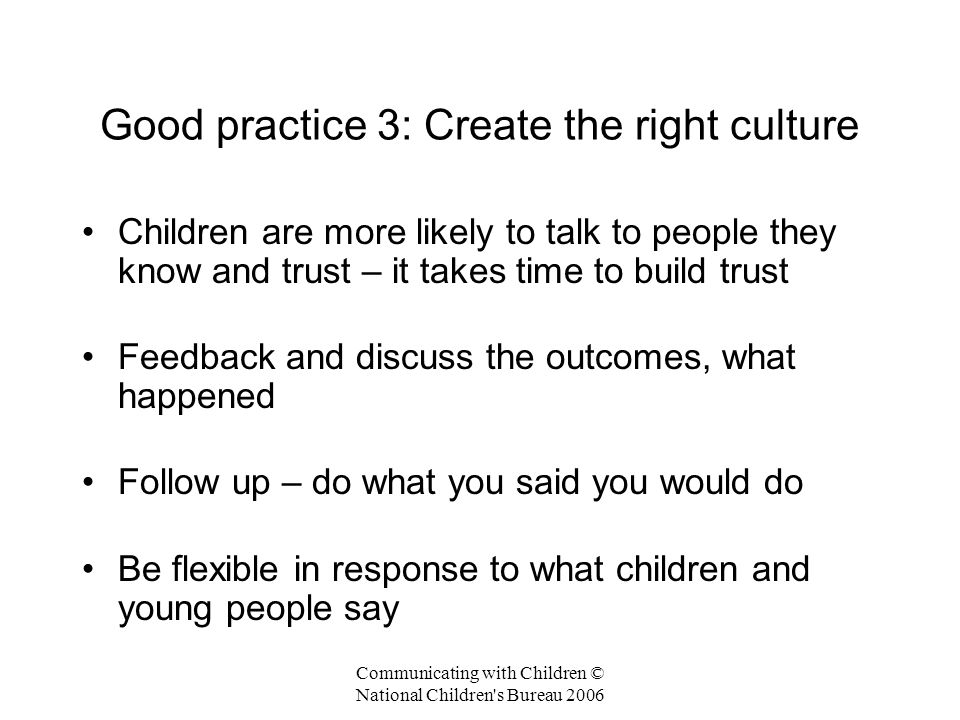 Good practice 3: Create the right culture
