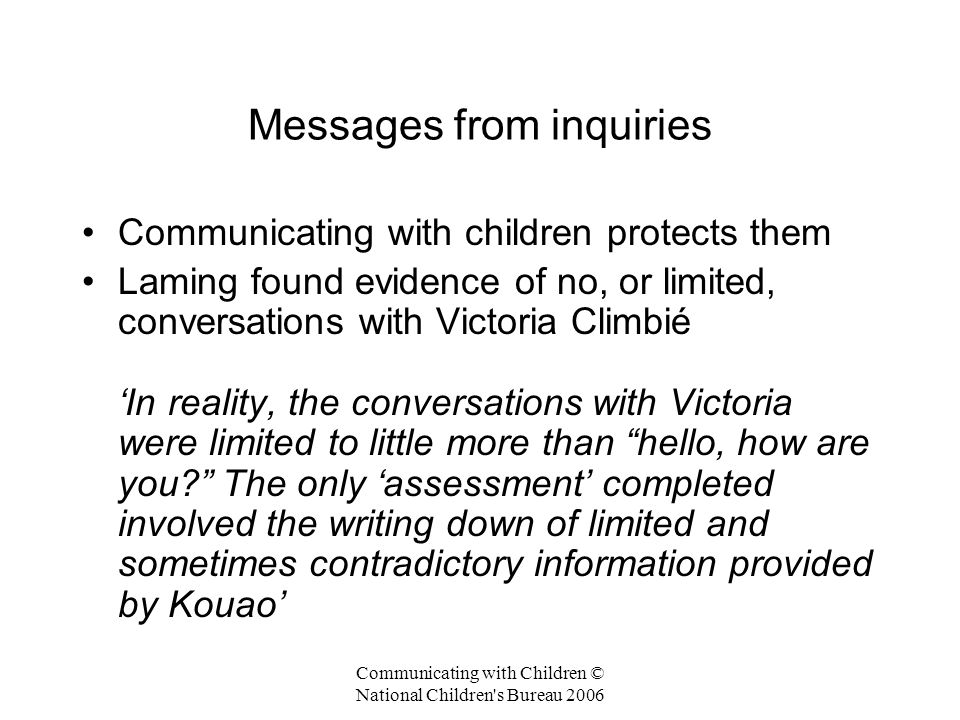 Messages from inquiries