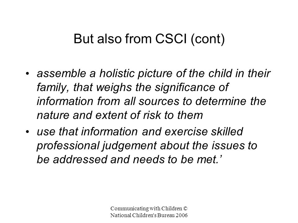 But also from CSCI (cont)