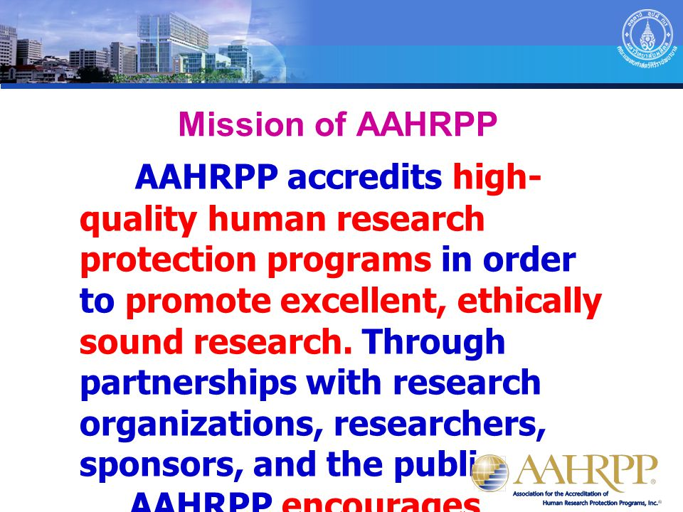 Mission of AAHRPP