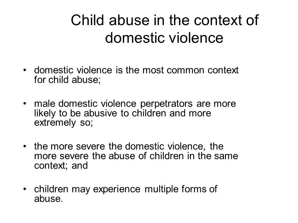 Child abuse in the context of domestic violence