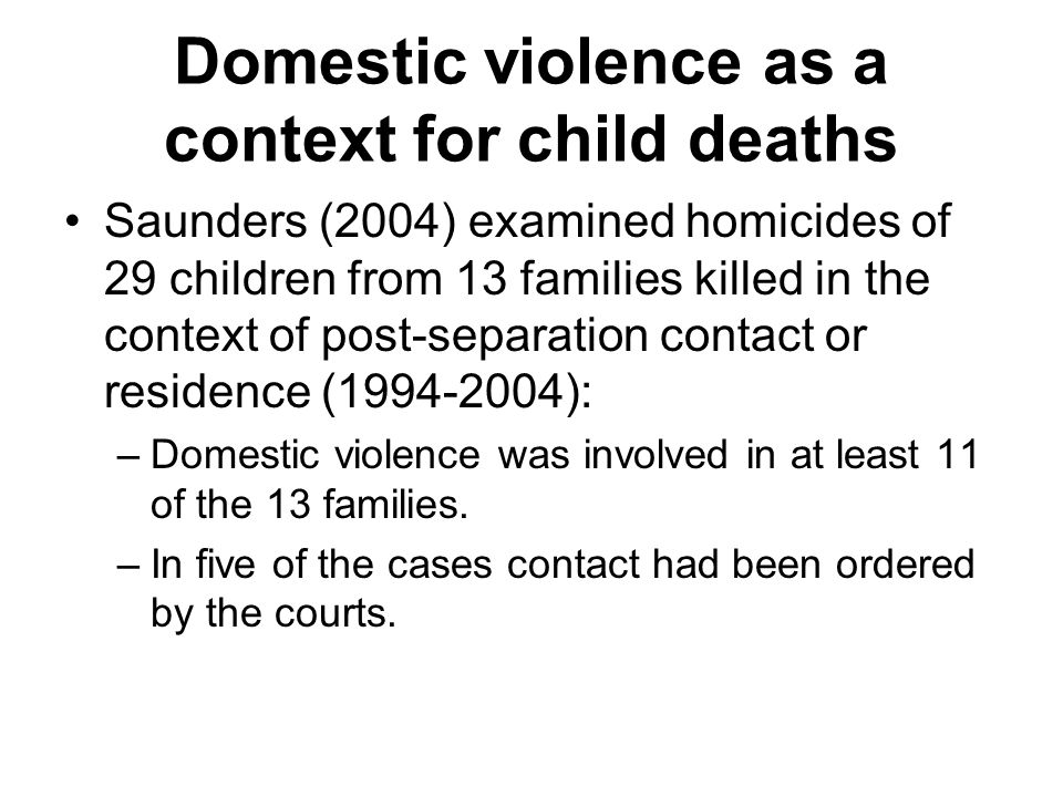 Domestic violence as a context for child deaths