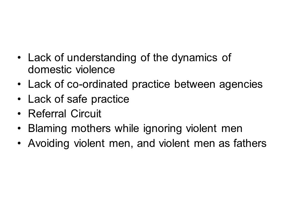 Lack of understanding of the dynamics of domestic violence