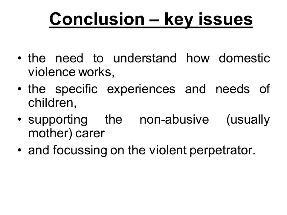 Conclusion – key issues