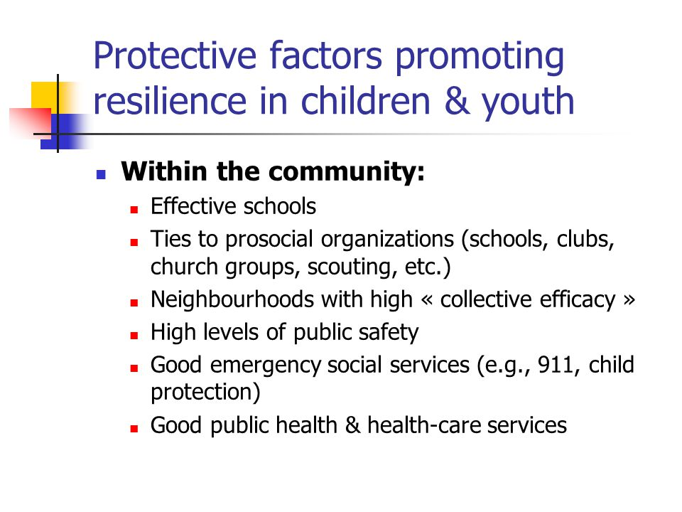 Protective factors promoting resilience in children & youth