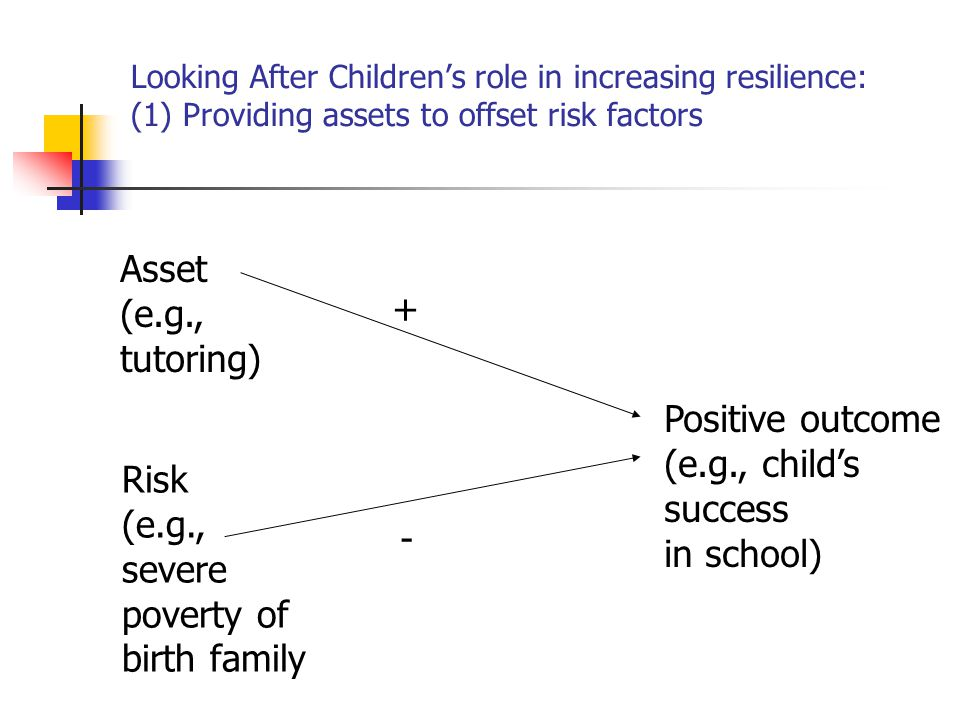 Asset (e.g., + tutoring) Positive outcome (e.g., child's success Risk
