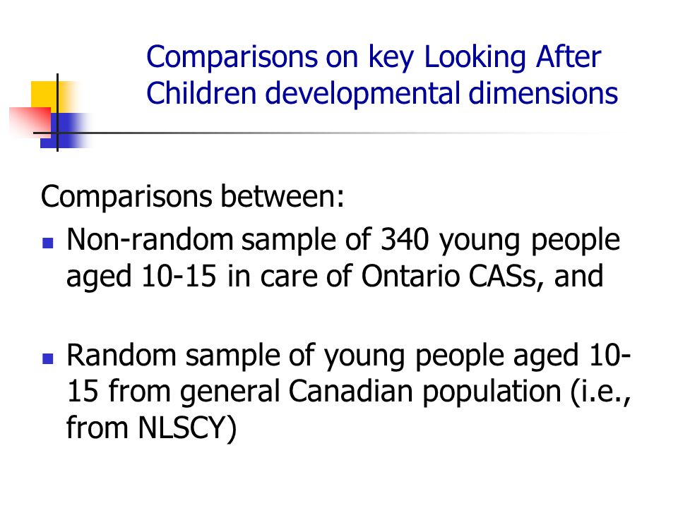Comparisons on key Looking After Children developmental dimensions