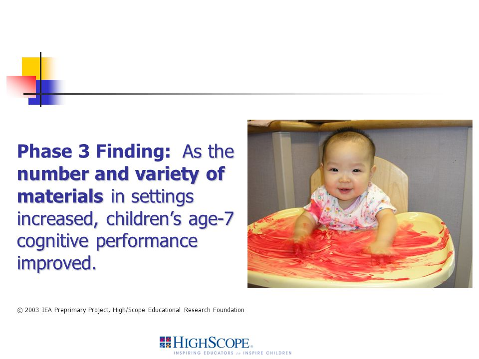 Phase 3 Finding: As the number and variety of materials in settings increased, children's age-7 cognitive performance improved.
