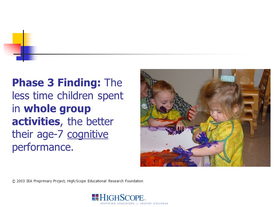 Phase 3 Finding: The less time children spent in whole group activities, the better their age-7 cognitive performance.