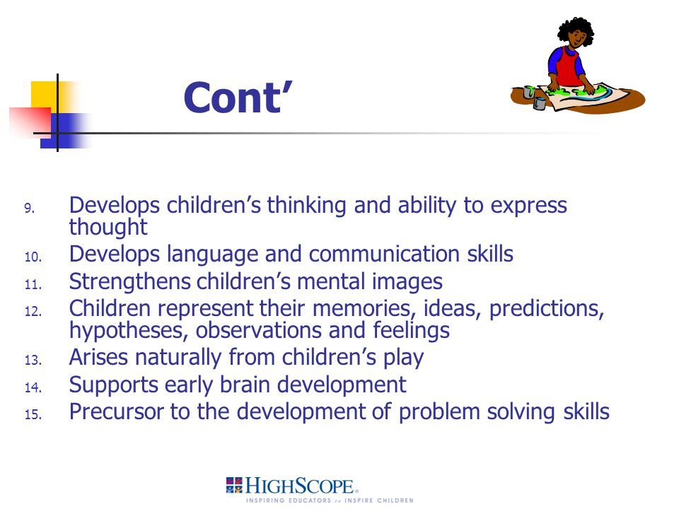 Cont' Develops children's thinking and ability to express thought