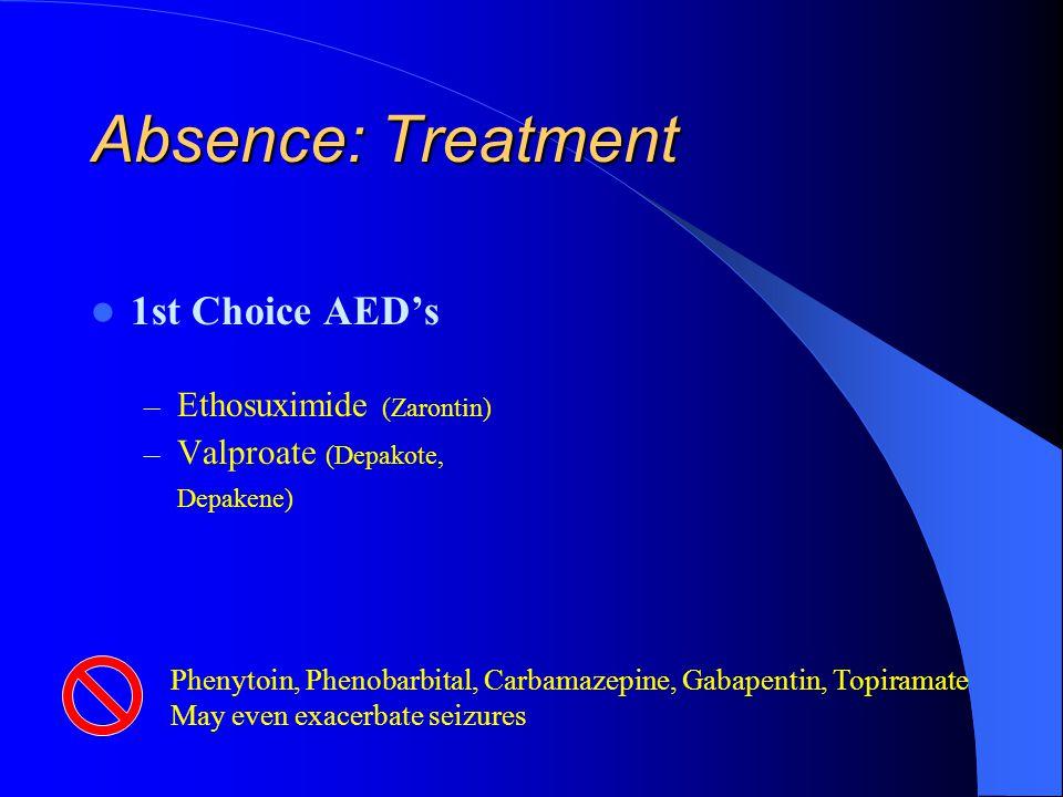 Absence: Treatment 1st Choice AED's Ethosuximide (Zarontin)