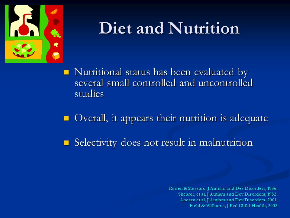 Diet and Nutrition Nutritional status has been evaluated by several small controlled and uncontrolled studies.