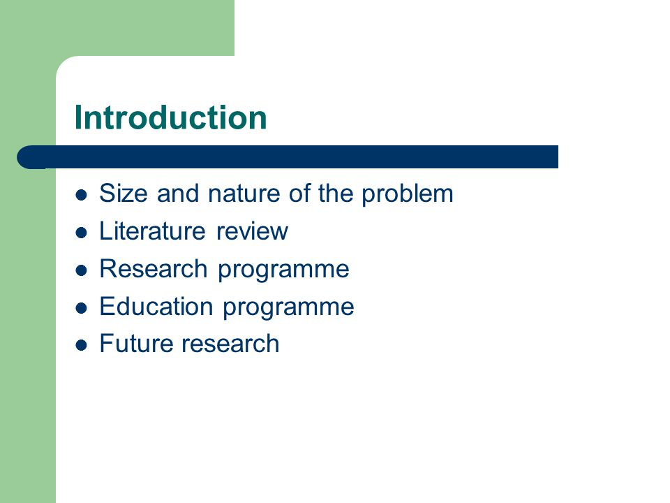 Introduction Size and nature of the problem Literature review