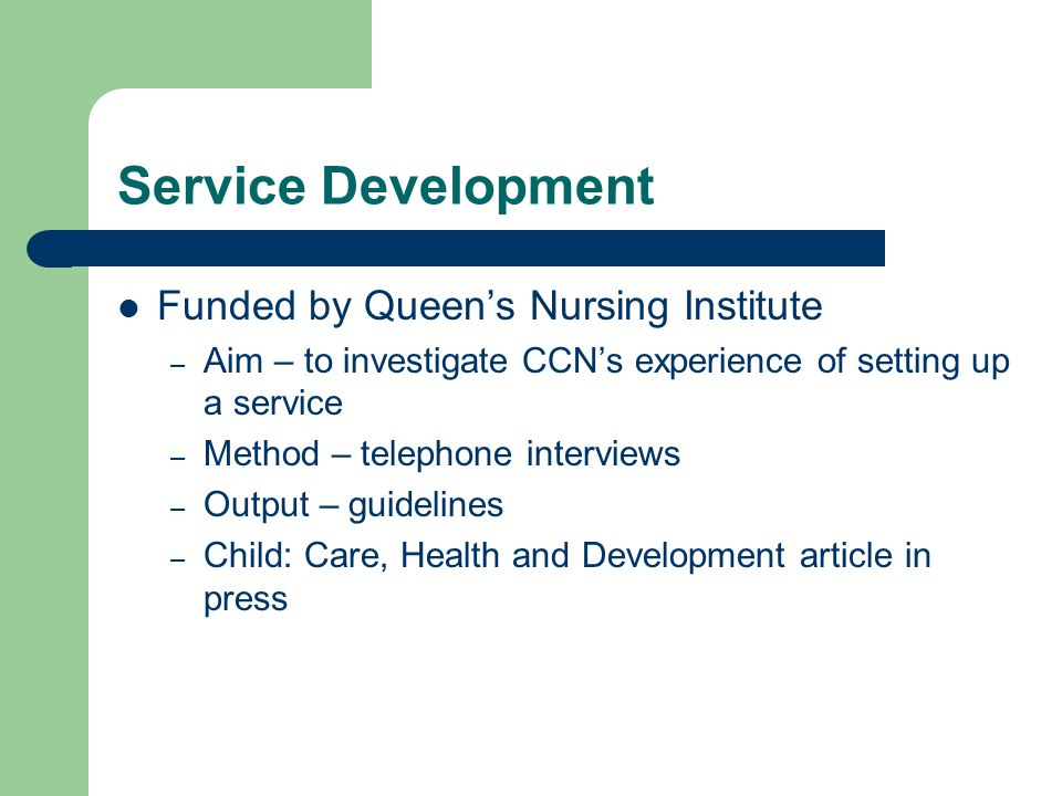 Service Development Funded by Queen's Nursing Institute