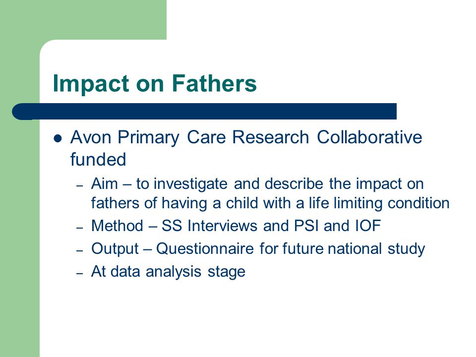 Impact on Fathers Avon Primary Care Research Collaborative funded