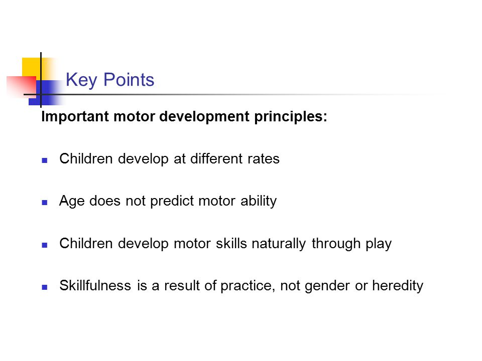 Key Points Important motor development principles: