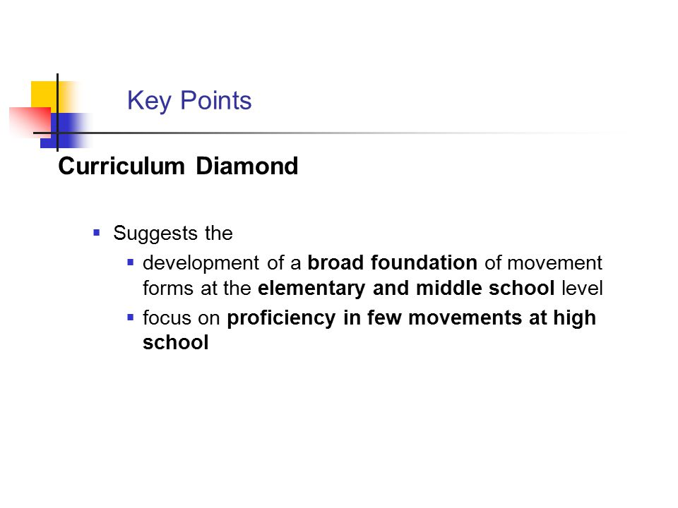 Key Points Curriculum Diamond Suggests the