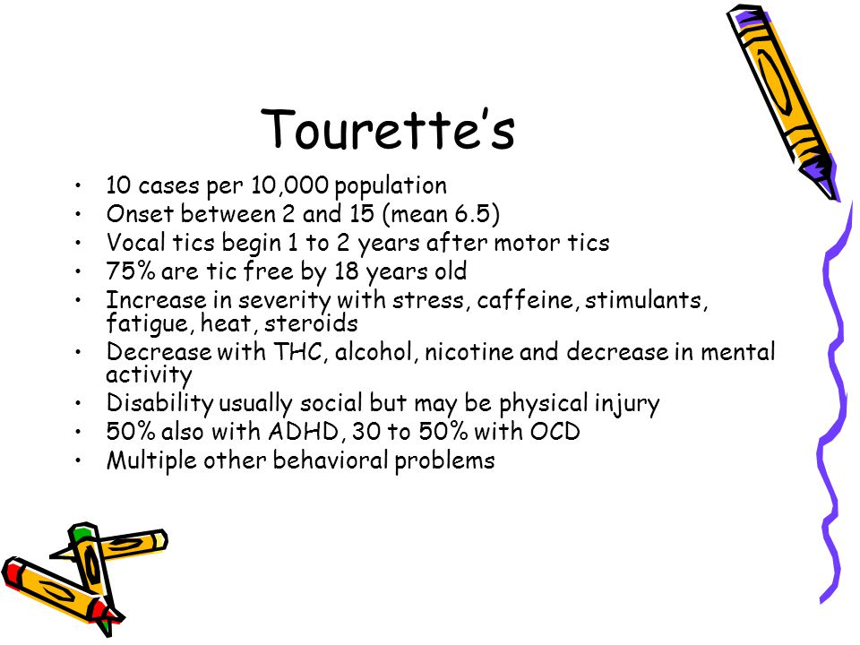 Tourette's 10 cases per 10,000 population