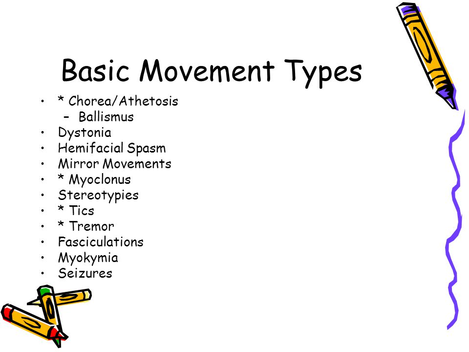 Basic Movement Types * Chorea/Athetosis Ballismus Dystonia