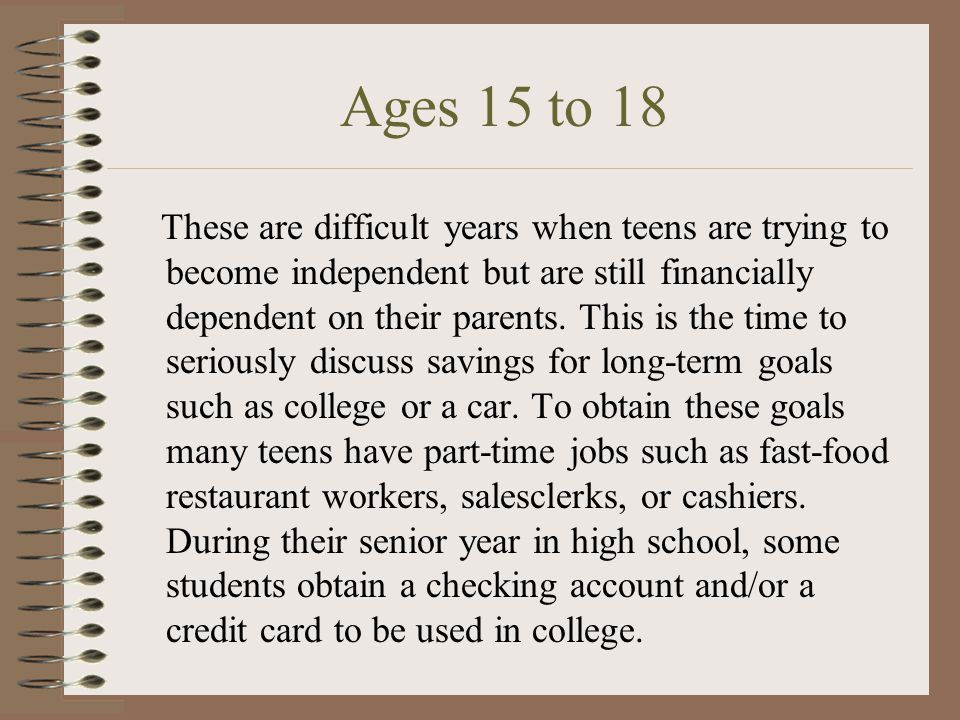 Ages 15 to 18