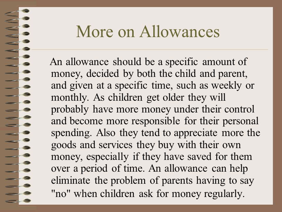 More on Allowances
