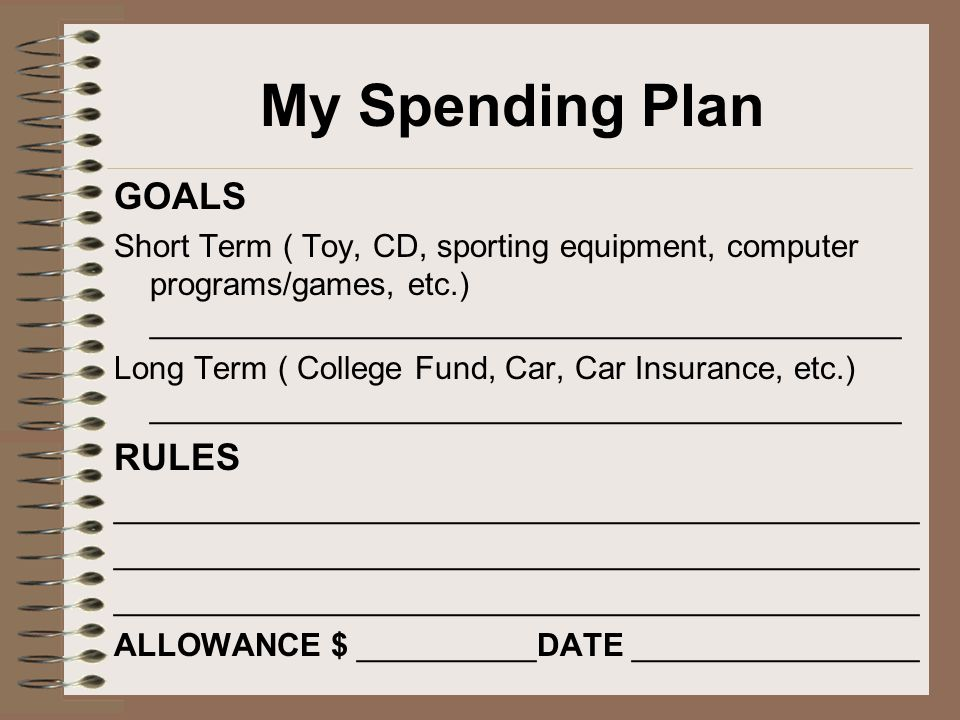 My Spending Plan GOALS RULES