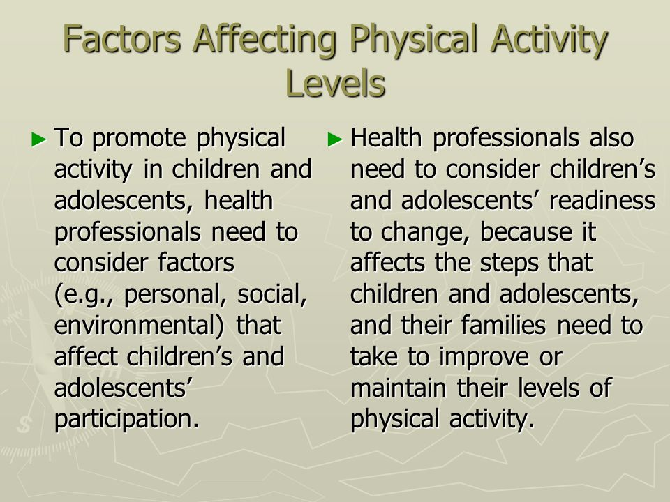 Factors Affecting Physical Activity Levels