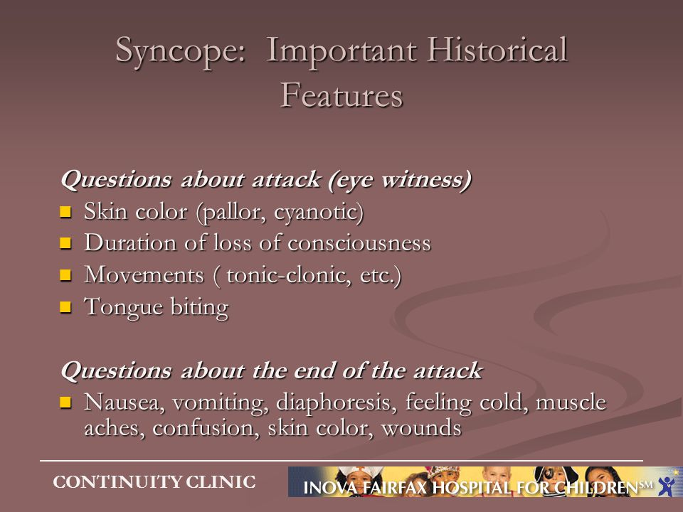 Syncope: Important Historical Features