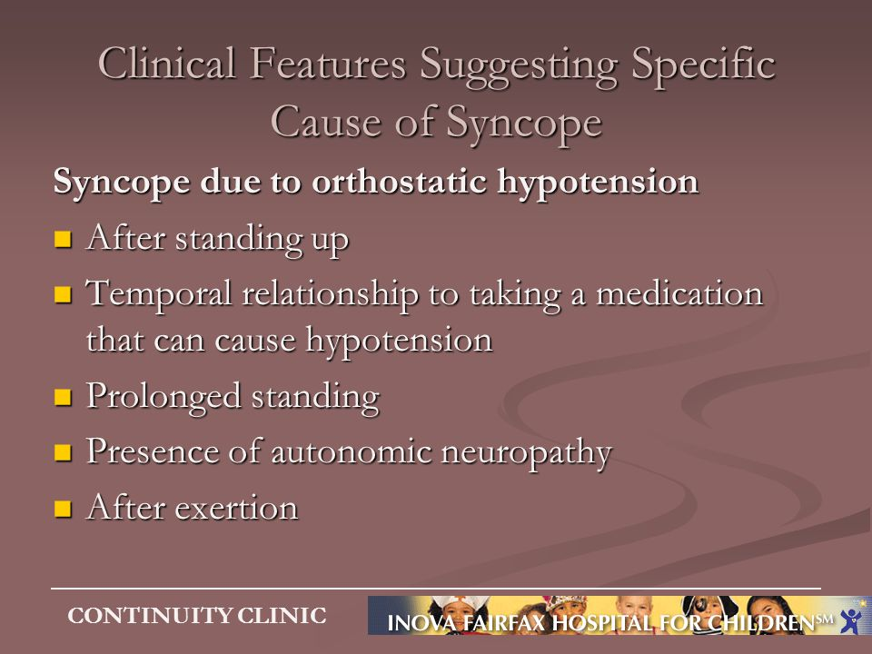 Clinical Features Suggesting Specific Cause of Syncope