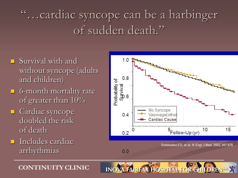 …cardiac syncope can be a harbinger of sudden death.