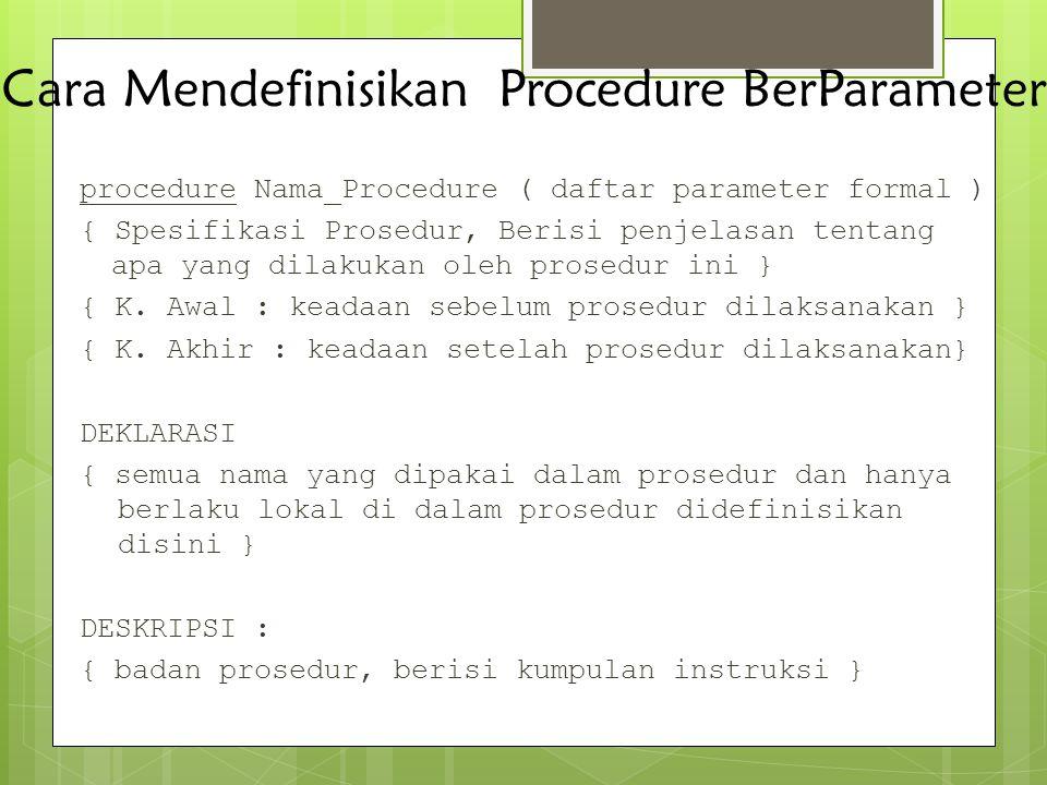 Cara Mendefinisikan Procedure BerParameter