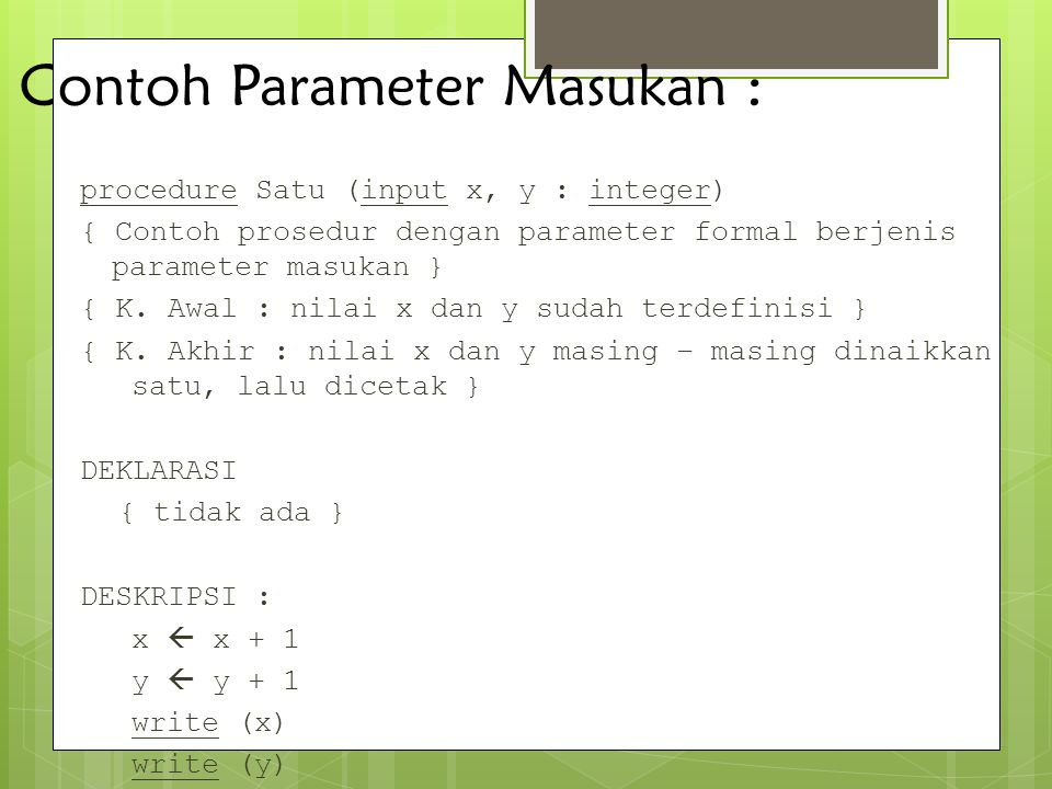 Contoh Parameter Masukan :