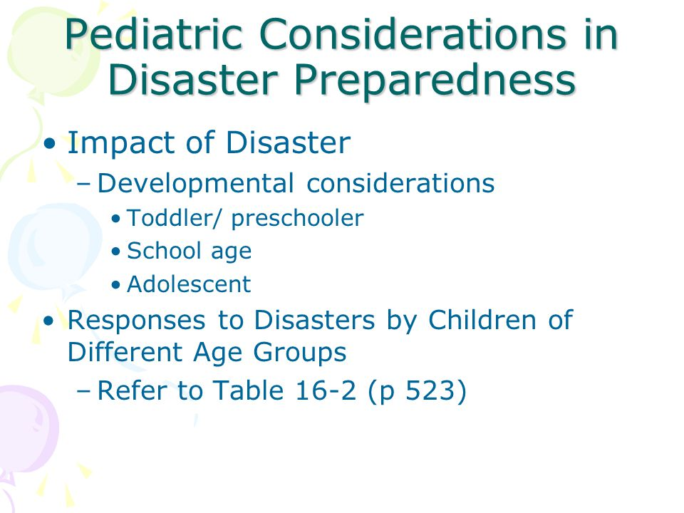 Pediatric Considerations in Disaster Preparedness