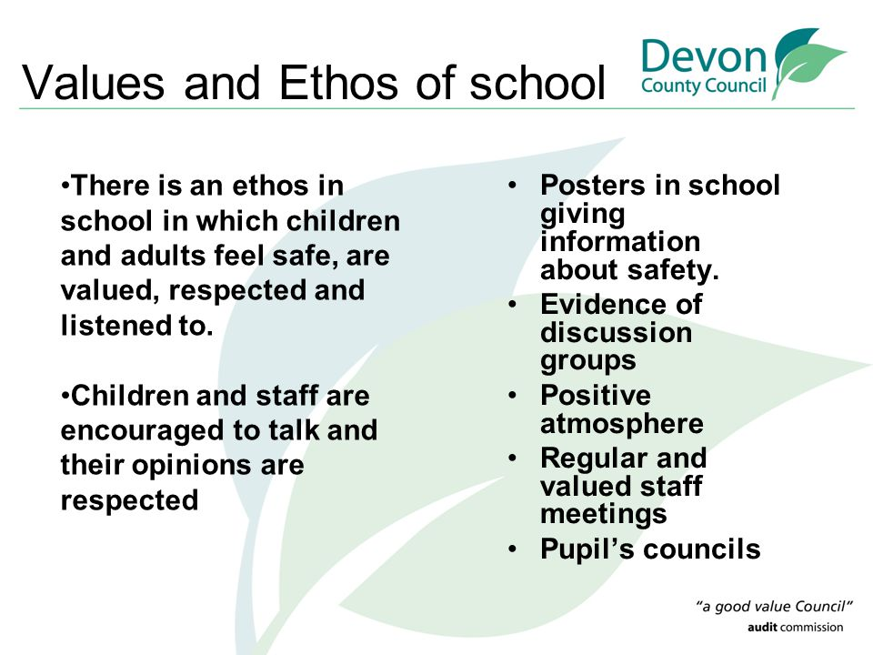 Values and Ethos of school