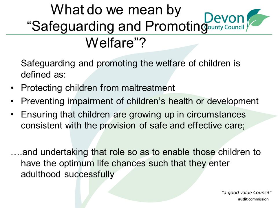 What do we mean by Safeguarding and Promoting Welfare