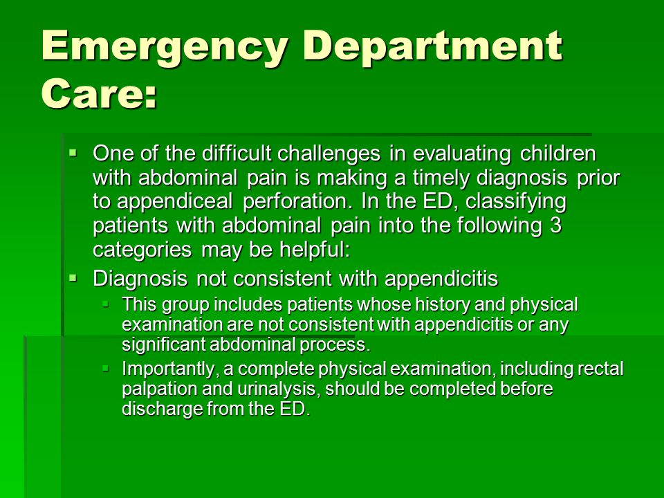 Emergency Department Care: