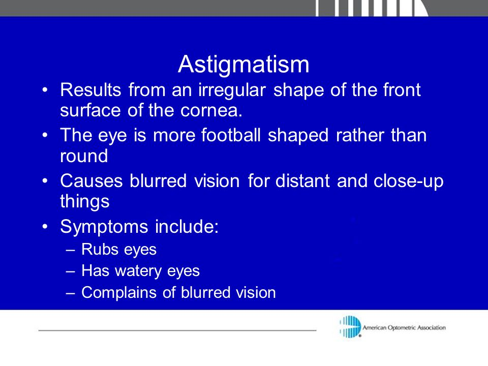 Astigmatism Results from an irregular shape of the front surface of the cornea. The eye is more football shaped rather than round.