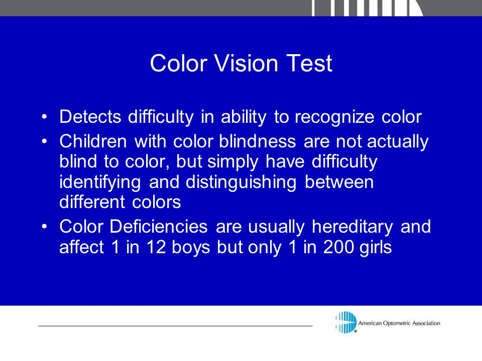 Color Vision Test Detects difficulty in ability to recognize color