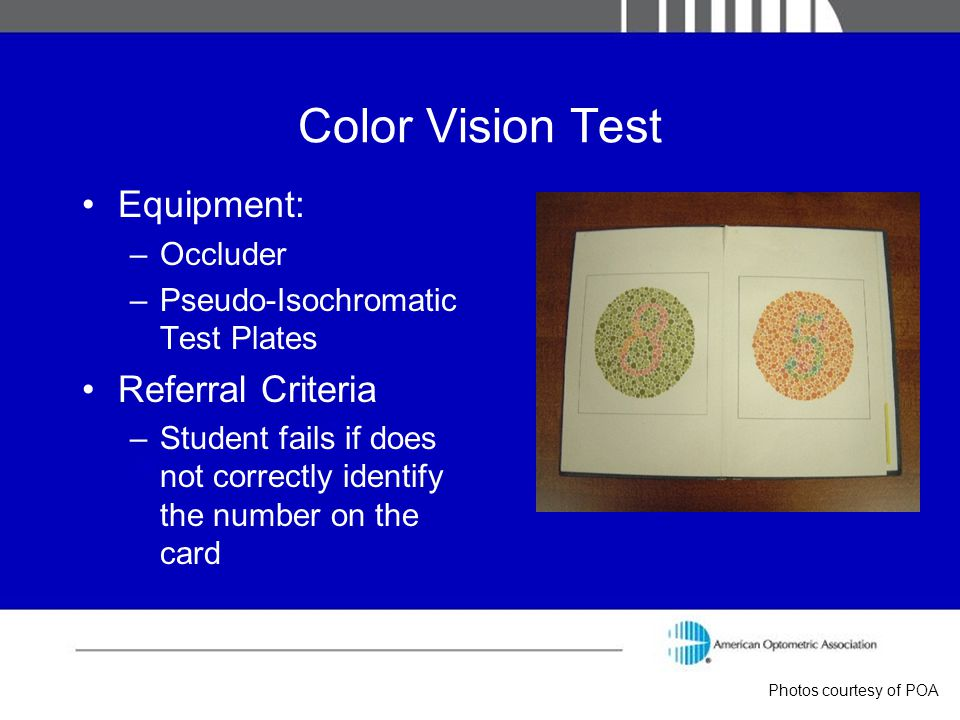 Color Vision Test Equipment: Referral Criteria Occluder